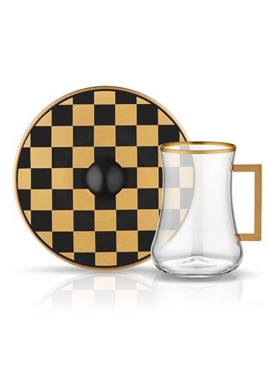 Dervish Kulplu Çay St 6'lı Dama Siyah Altın-Koleksiyon